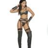 Leather Underwire Bra With Garter Belt