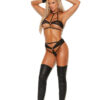 Fishnet Bra With Leather Trim