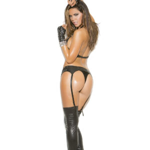 Zip front leather garter belt with stud detail.