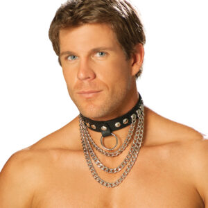Men'S Leather Collar With Chains And O Ring