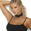 Leather Choker With Chain Detail